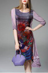 Asymmetrical Flower Pattern Dress -