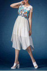Floral Embroidered Handerchief Dress -