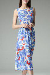 Sleeveless Elastic Waist Print Midi Dress - AZURE