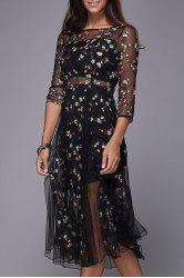 Flower Embroidered Sheer Midi Dress -