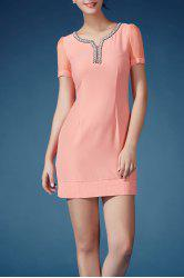 Beaded V Neck Sheath Dress -
