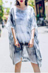 Tie Dye Asymmetric Batwing Sleeve Dress -
