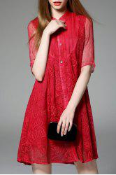 Flower Embroidered Pleated Mesh Dress -
