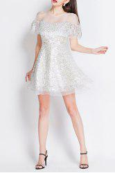 Sequined Mesh Sheer Mini Dress -