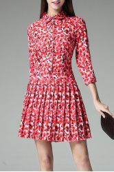 Button Front Pleated Dress -