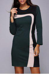 Color Block Long Sleeve Work Dress -