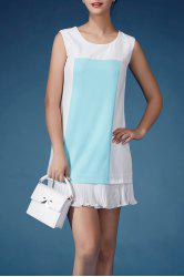 Sleeveless Color Block Flounced Dress -