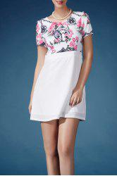 Floral Splicing High Waist Dress -