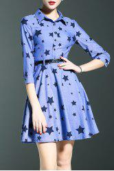 Star Print Denim Shirt Dress -