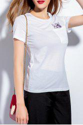 Pocket Cat Embroidered T-Shirt -