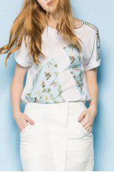 Printed Patchwork Loose T-Shirt -