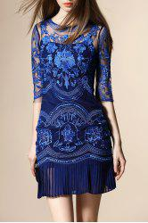 Embroidery See Through Pleated Dress - BLUE