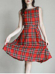 Vintage Jewel Neck Sleeveless Plaid Belted Women A-line Dress - RED XS