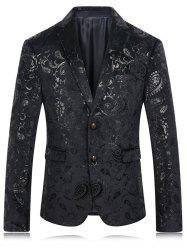 Golden Flower Print Lapel Long Sleeve Blazer For Men - BLACK