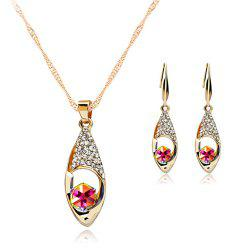 A Suit of Stylish Hollowed Faux Gem Rhinestone Necklace and Earrings For Women