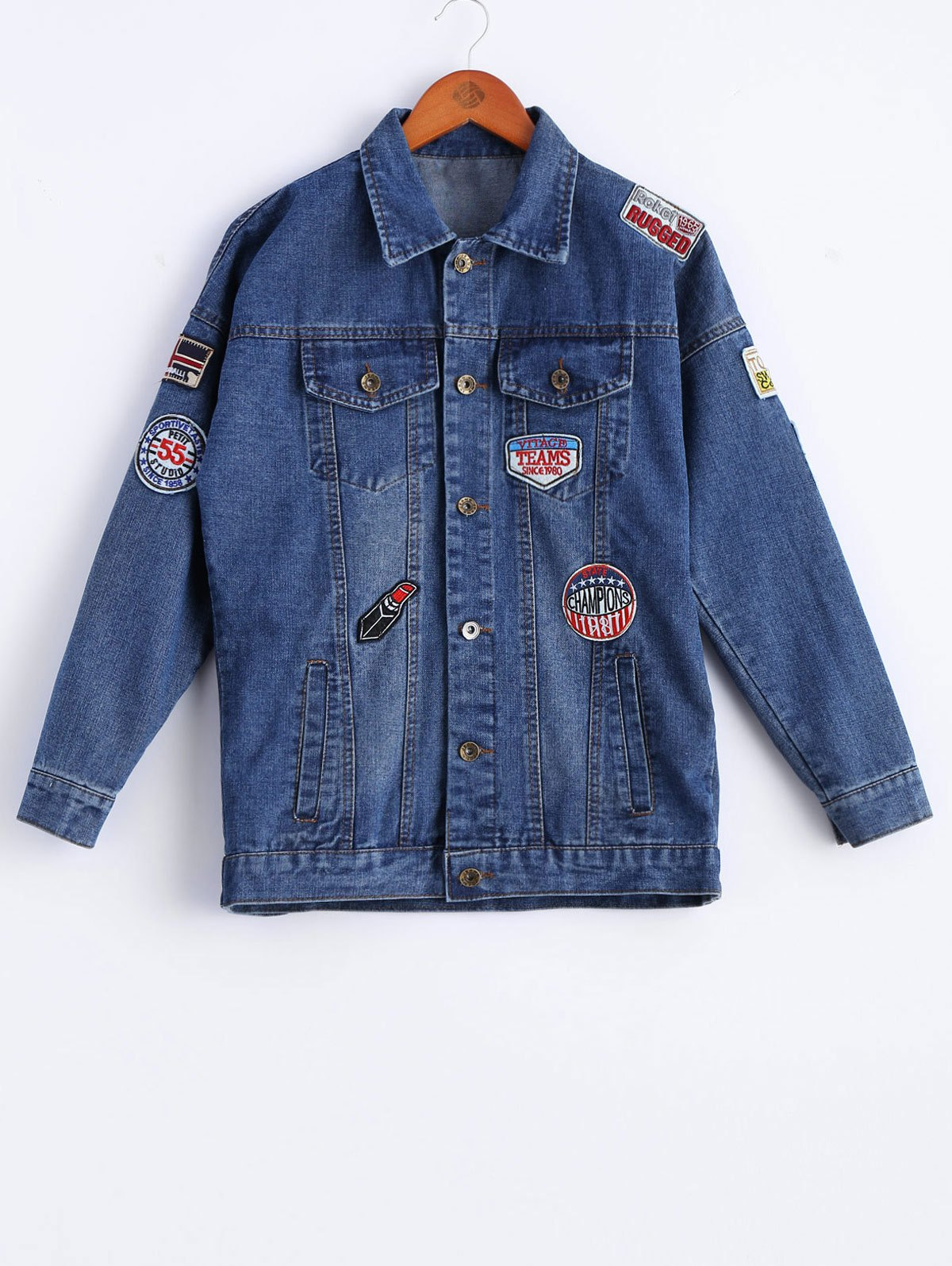 Chic Chic Long Sleeve Applique Denim Jacket For Women