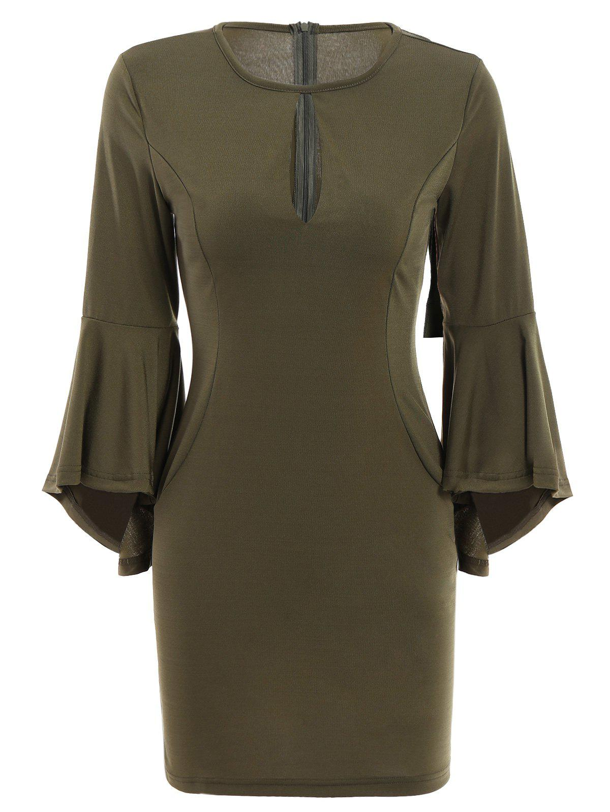 Fashion Sexy Round Neck 3/4 Sleeve Cut Out Women's Bodycon Dress