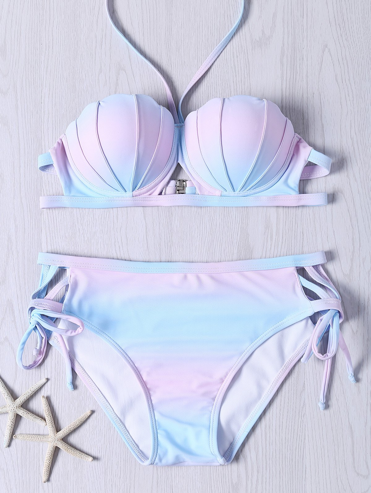Chic Cute Halter Neck Self Tie Ombre Design Bikini Set