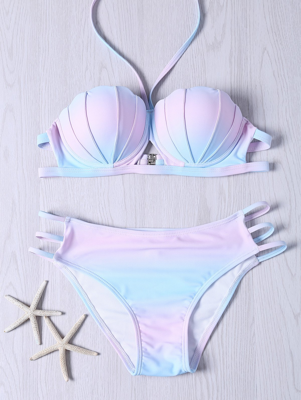 Discount Sweet Halter Neck Ombre Design Bikini Set