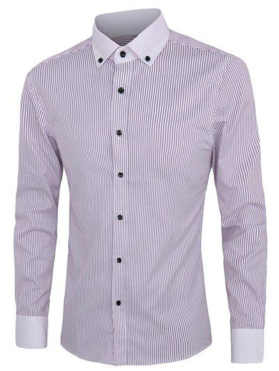Latest Casual Striped Button-down Plus Size Shirts For Men