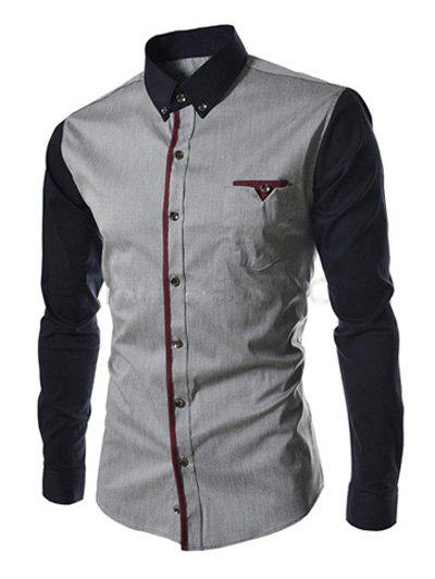 Outfit Casual Color Block Button-down Long Sleeves Shirts For Men