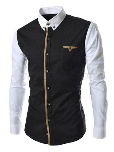 Hot Casual Color Block Button-down Long Sleeves Shirts For Men