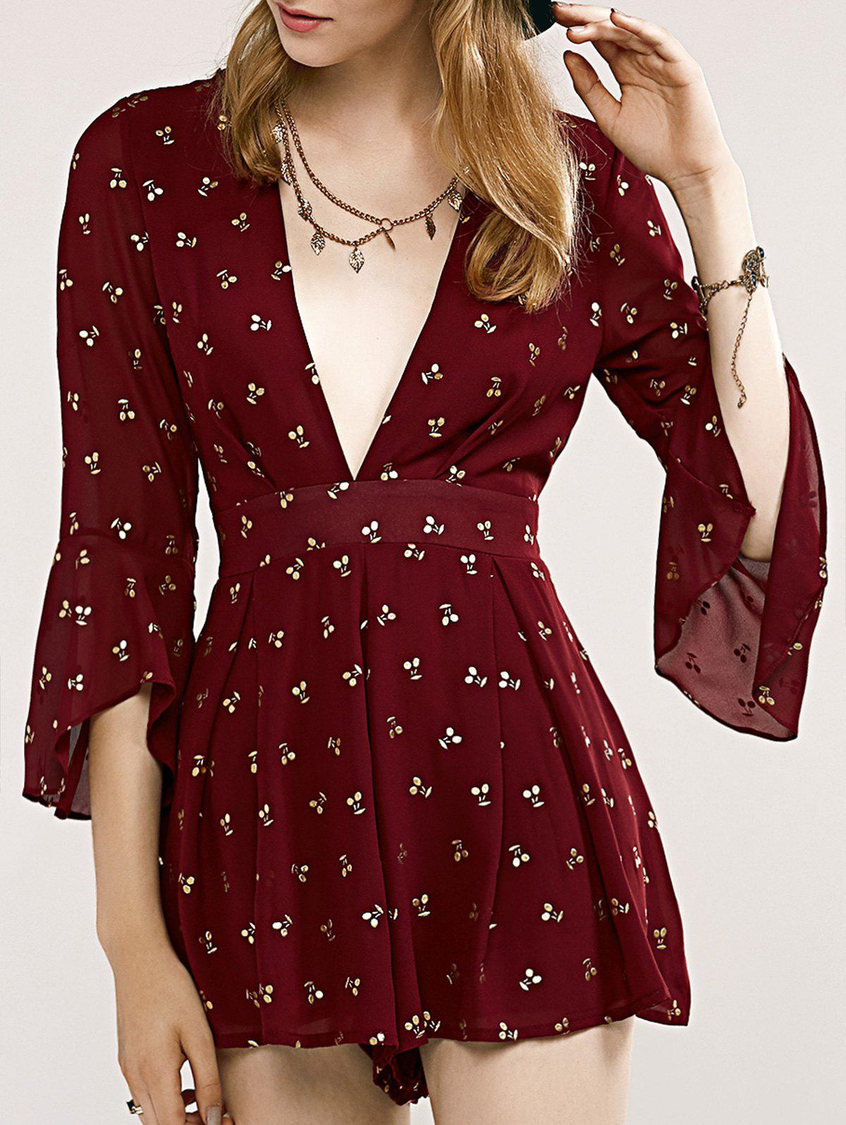 Discount Stylish Women's Plunging Neck Printed Flare Sleeve Romper