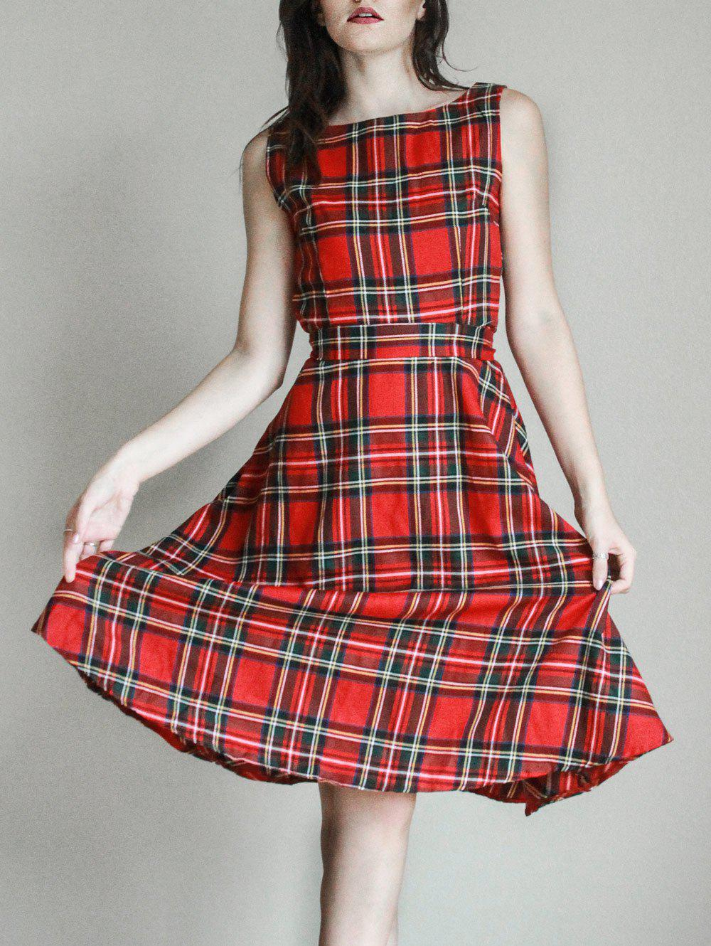 Vintage Jewel Neck Sleeveless Plaid Belted Women A-line DressWOMEN<br><br>Size: M; Color: RED; Style: Casual; Material: Cotton Blend,Polyester; Silhouette: A-Line; Dresses Length: Mid-Calf; Neckline: Jewel Neck; Sleeve Length: Sleeveless; Pattern Type: Plaid; With Belt: Yes; Season: Summer; Weight: 0.325kg; Package Contents: 1 x Dress  1 x Belt;