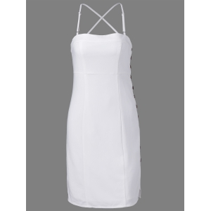 Fashionable Spaghetti Straps Fastener White Dress For Women - White - M
