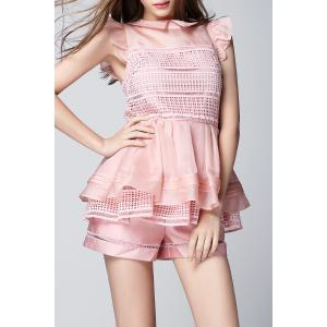 Flounce Layered Peplum Top with Shorts