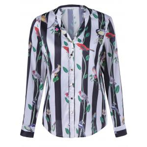 Fashionable Long Sleeves Birdie Stripe Design Pringting Blouse For Women