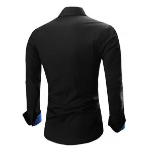 Refreshing Color Block Turn-Down Collar Long Sleeve Shirt For Men - BLACK/BLUE 2XL