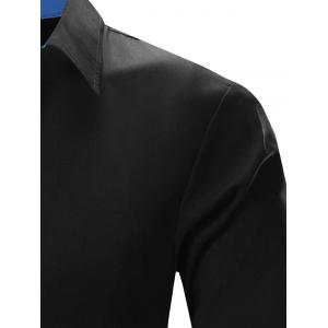 Refreshing Color Block Turn-Down Collar Long Sleeve Shirt For Men - BLACK AND BLUE 2XL