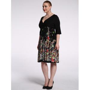 Plus Size Plunging Half Sleeve Floral Skater Dress - BLACK 7XL