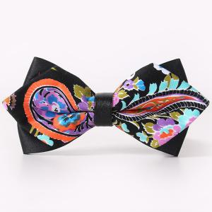 Stylish Handpainted Paisley Pattern Faux Leather Cuff Bow Tie For Men - Black - 38