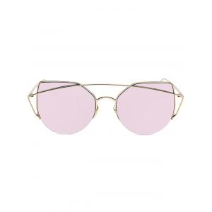 Chic Gold Crossbar Cat Eye Mirrored Sunglasses For Women - PINK
