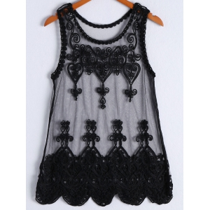 Women's Trendy Embroidery Sleeveless Dress - Black - One Size(fit Size Xs To M)