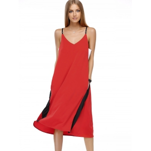 Chic Women's Color Block Spaghetti Strap Dress -