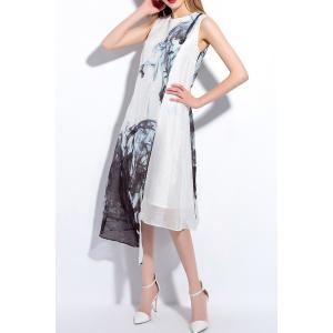 Round Neck Sleeveless Printed Asymmetric Dress -