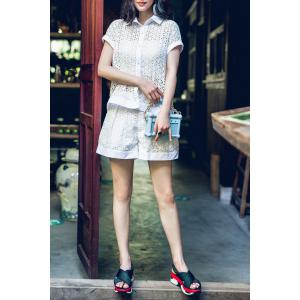 Button Up Openwork Shirt and Pleated Shorts -