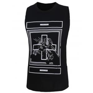 Fashion Letters Printed Solid Color Tank Top For Men