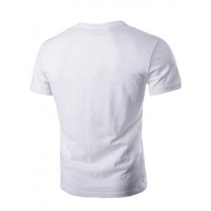Round Neck Star Metal Detail Embellished Pocket Short Sleeve T-Shirt For Men - WHITE L