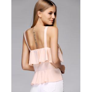 Frilled Layered Tank Top - PINK L