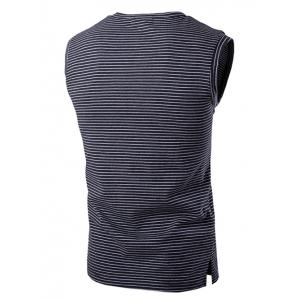 Round Neck Striped Sleeveless T-Shirt For Men - BLACK XL