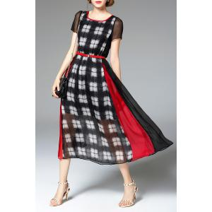 High Waisted Plaid Print Dress -