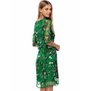 Plate Buttons Printed Flowing Silk Dress - GREEN L