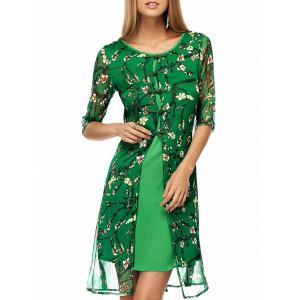 Plate Buttons Printed Flowing Silk Dress