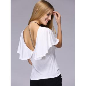 Stylish Short Sleeve Hollow Out Backless T-Shirt For Women -