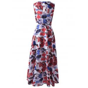 Fashionable Sleeveless Abstract Printed Cut Out Pleated Maxi Dress For Women - COLORMIX XL