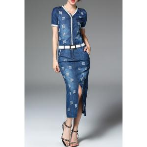 Ripped Sheath Denim Dress -